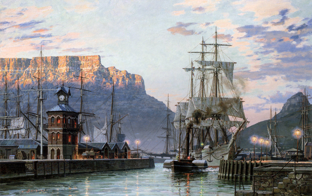 "John Stobart - Cape Town: The Bark ""William Hales"" Towing Out of Port"