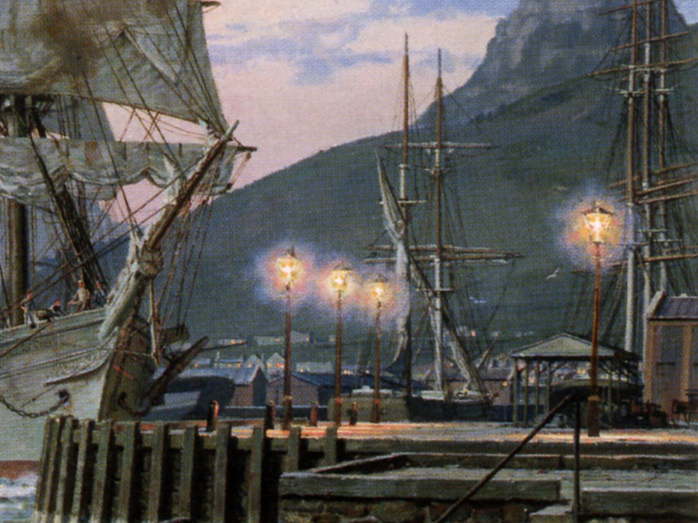 """John Stobart - Cape Town: The Bark """"William Hales"""" Towing Out of Port"""
