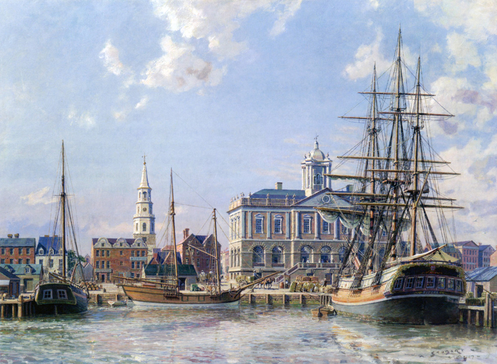 John Stobart - Charleston: Landing Cotton Alongside The Exchange