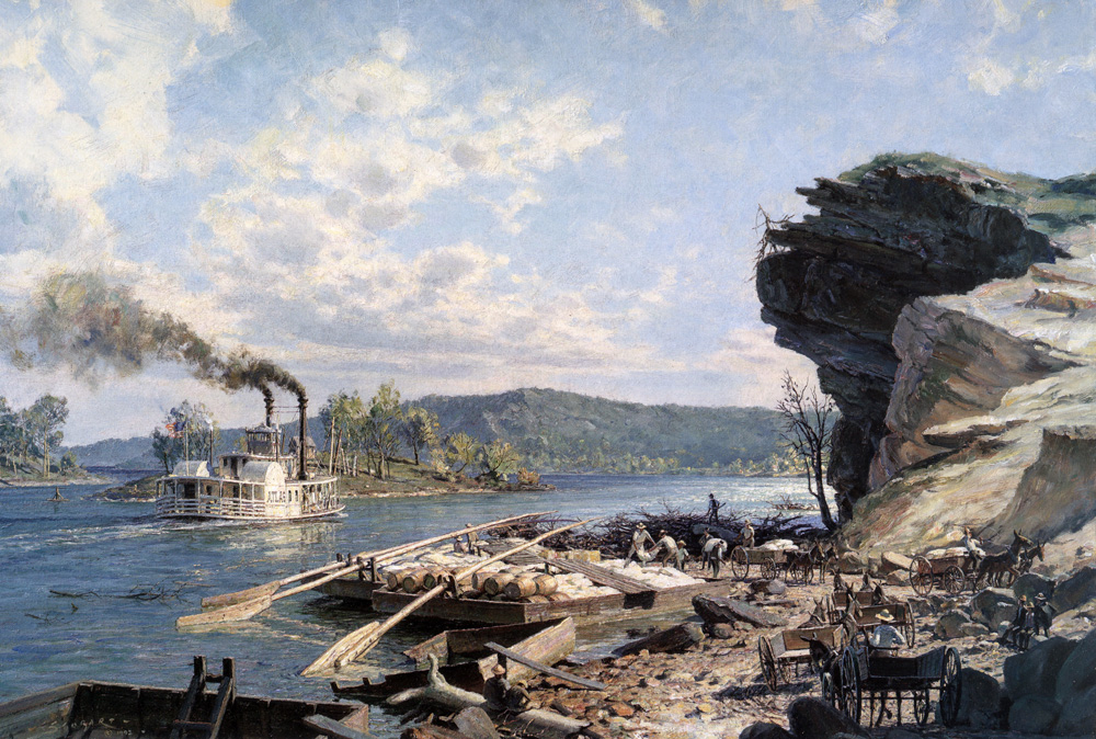 John Stobart - Chattanooga: Ross's Landing Flatboats on the Tennessee River