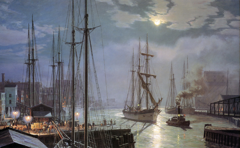 "John Stobart - Chicago: ""Naiad"" Towing in Past the Rush Street Bridge"