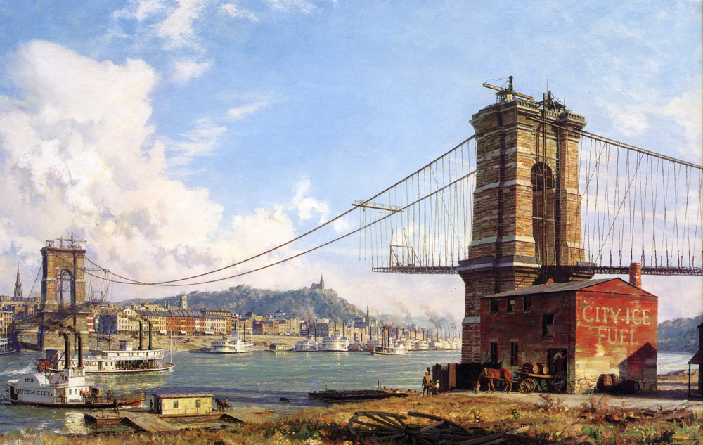 John Stobart - Cincinnati: A Panorama Of The Queen City from Covington's Riverfront In 1866
