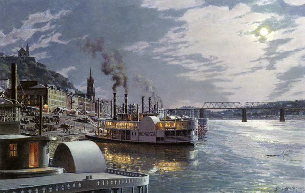 John Stobart - Cincinnati: The Public Landing by Moonlight c. 1875