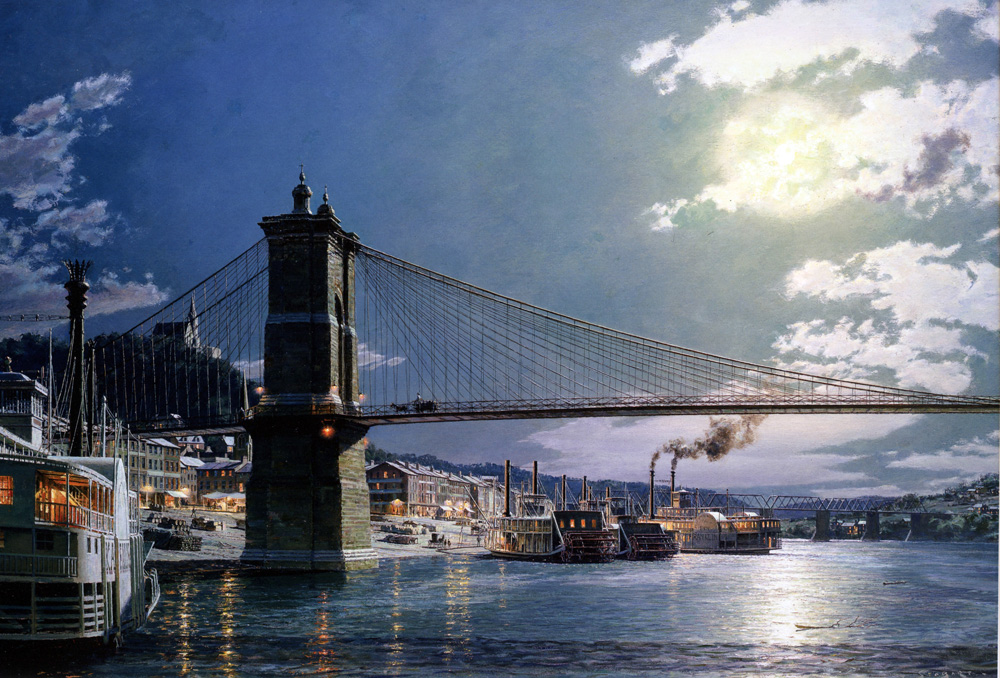 John Stobart - Cincinnati: The Public Landing by Moonlight in 1884