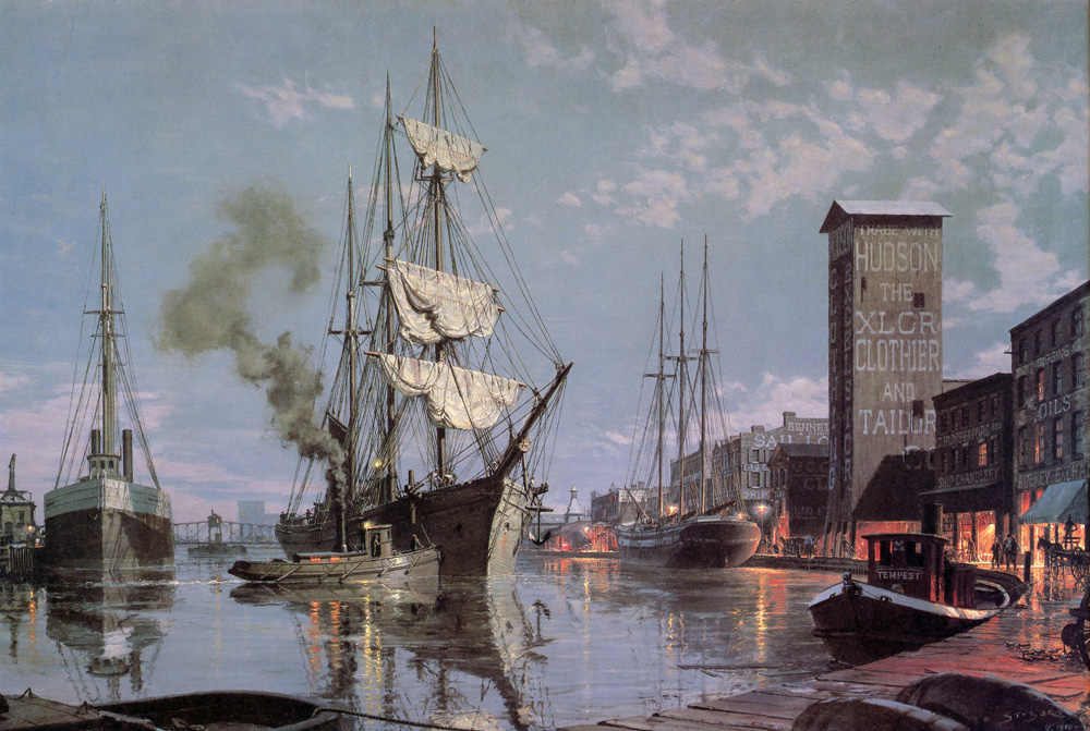 John Stobart - Cleveland: Moonlight Arrival in the Cuyahoga River c. 1876