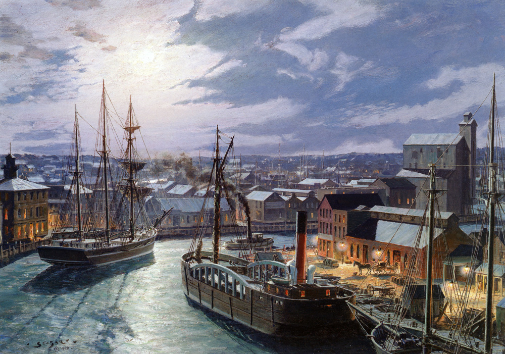 John Stobart - Cleveland: West River Street by Gaslight In 1873
