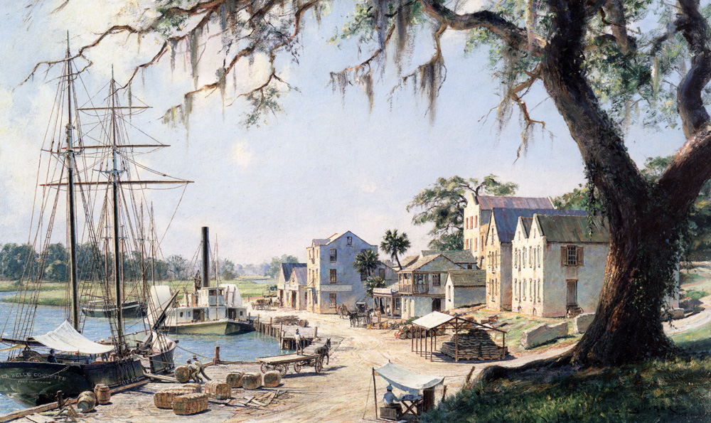 John Stobart - Darien: On the Georgia Tidewater Loading Sea Island Cotton