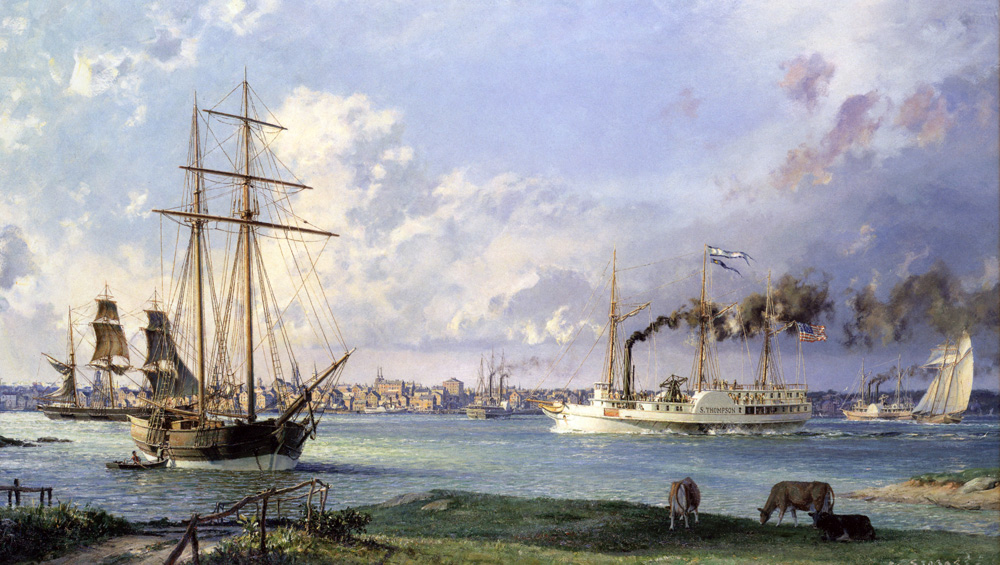 John Stobart - Detroit: A View of the City from the Canadian Shore c. 1838