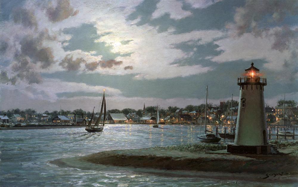 John Stobart - Edgartown Harbor Under a Full Moon