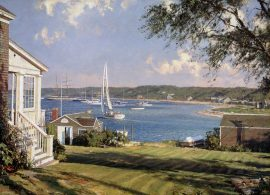 John Stobart - Edgartown: A View Looking Over the Outer Harbor