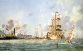 """John Stobart - Galveston: The Bark """"Elissa"""" Leaving Port in 1884"""