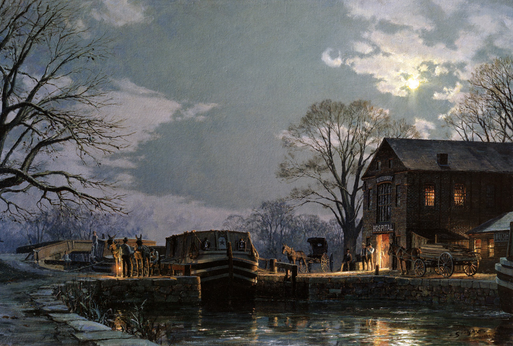 John Stobart - Georgetown: Preparing for A Moonlight Departure
