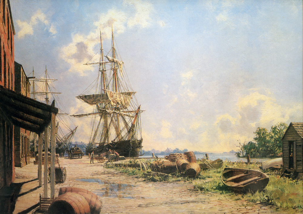 John Stobart - Georgetown: Vessels at the Potomac Wharf in 1842
