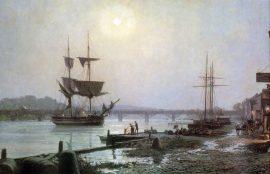 John Stobart - Georgetown: Water Street by Moonlight in 1845