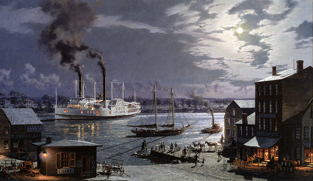 "John Stobart - Hartford: ""The City of Hartford"" Arriving at the Foot of State Street in 1870"
