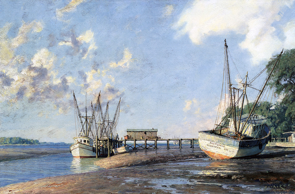John Stobart - Hilton Head Island: Shrimpboats at Skull Creek
