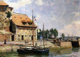 John Stobart - Honfleur: The Lieutenance from the Inner Harbor