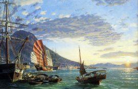 John Stobart - Hong Kong: A View of the Harbor at Sunset in 1870