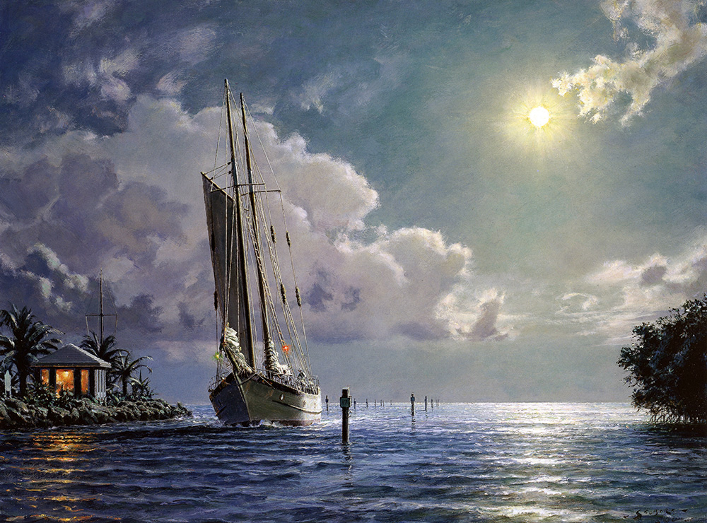 "John Stobart - Key Largo: The Schooner ""Yankee"" Entering Ocean Reef"