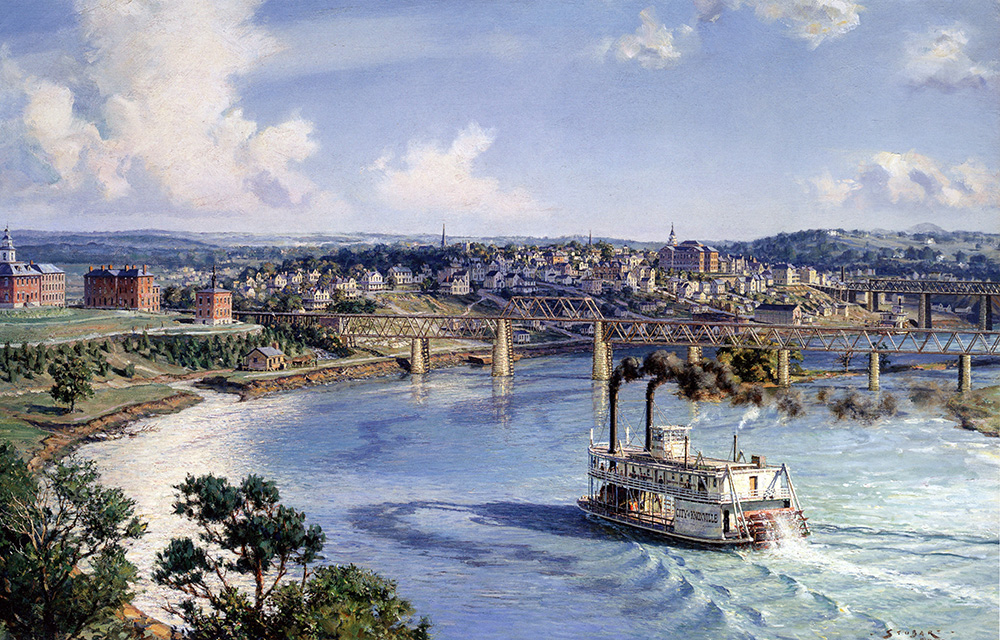 "John Stobart - Knoxville: The ""City of Knoxville"" Arriving from Chattanooga"