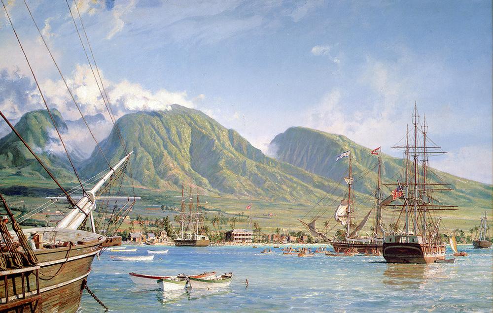 "John Stobart - Lahaina Maui: The Whaling Brig ""Isabella"" Arriving In 1865"