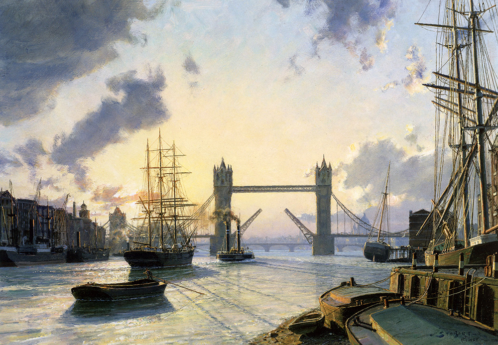 John Stobart - London: Sunset Over the Thames in 1895