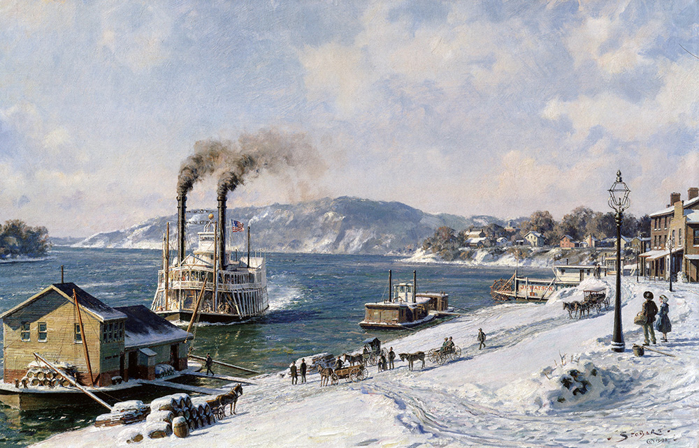 "John Stobart - Marietta: The Mail Line Packet ""Courier"" Arriving at the Wharfboat on the Ohio in 1875"
