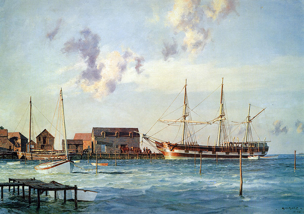 "John Stobart - Martha's Vineyard: The Bark ""Mattapoisett"" at Osborn's Wharf"