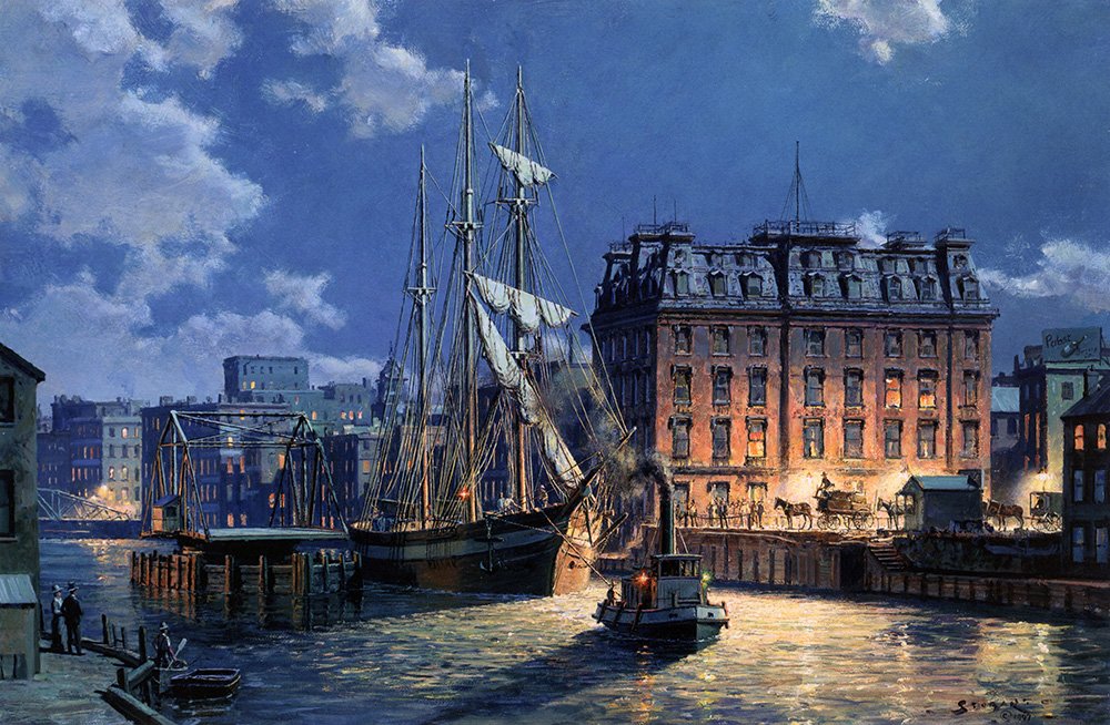 John Stobart - Milwaukee: Huron Street by Moonlight in 1890