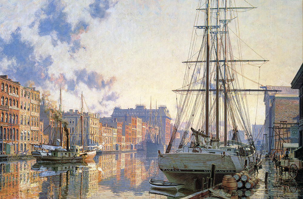John Stobart - Milwaukee: The Inner Harbor at Sunset in 1880