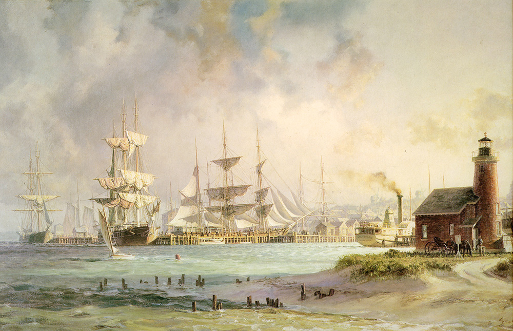 John Stobart - Nantucket: The Celebrated Whaling Port in 1835