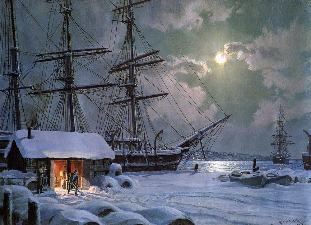 John Stobart - New Bedford: Snowfall On Central Wharf