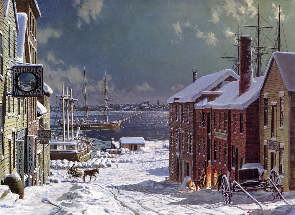 John Stobart - New Bedford: The View Across to Fairhaven from Centre Street In 1884