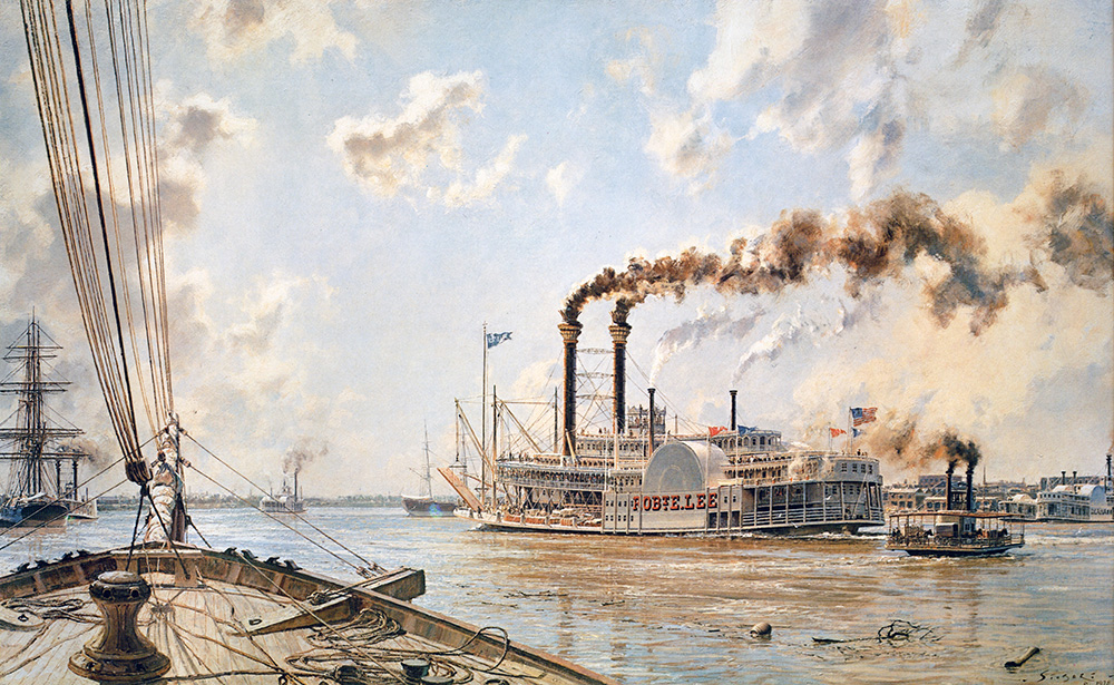 "John Stobart - New Orleans: The ""Rob't E. Lee"" Leaving the Crescent City"