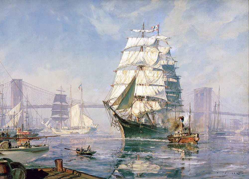 "John Stobart - New York: _Henry B. Hyde"" leaving the East River 1886"