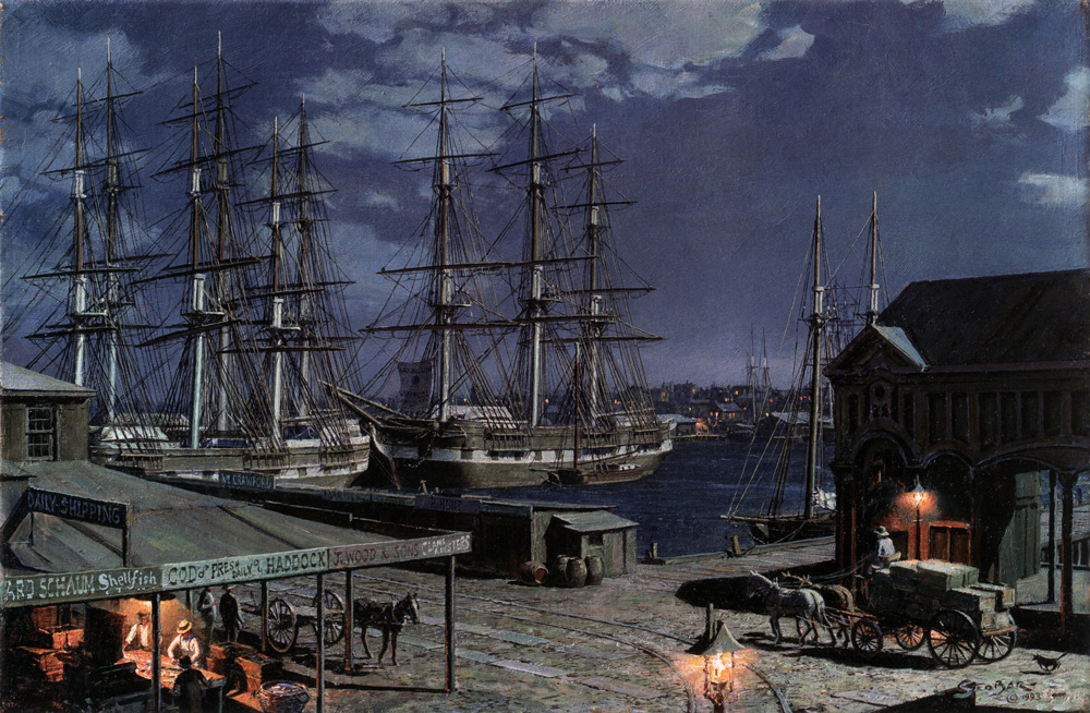 John Stobart - New York: The Black Ball Packets Seen Beyond the Fulton Fish Market in 1865