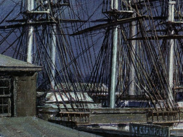 John Stobart - New York: The Black Ball Packets Seen Beyond the Fulton Fish Market in 1865