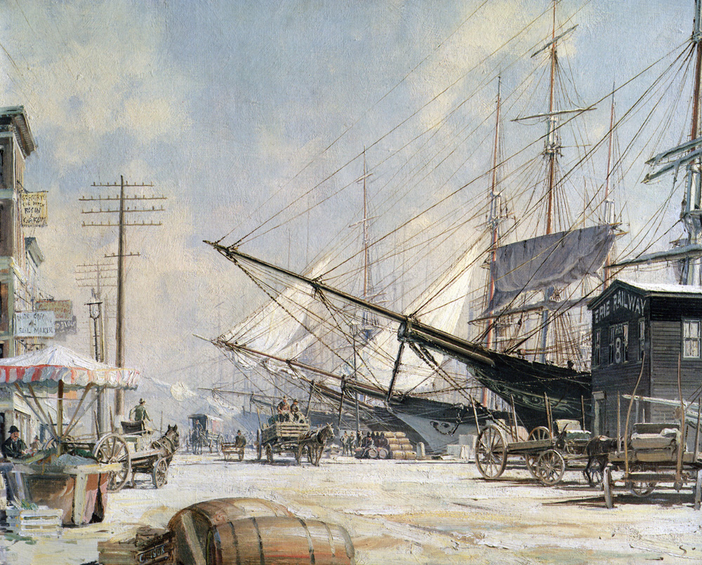 John Stobart - New York: The Foot of South Street in 1876