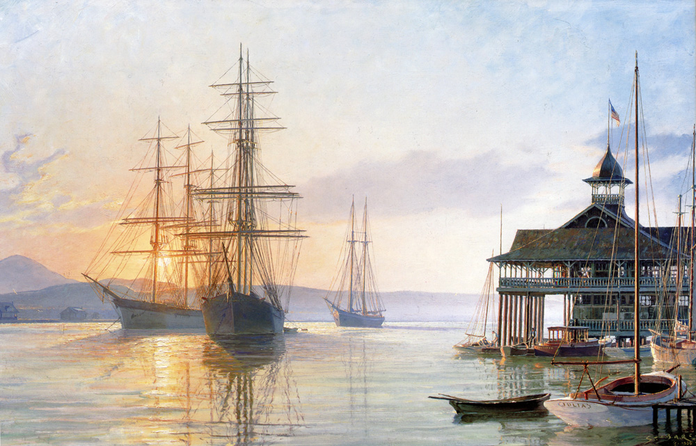 John Stobart - Newport Beach: The Pavilion at Sunrise c. 1910