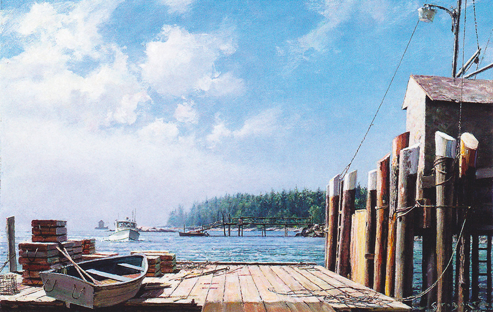 John Stobart - Owl's Head: As Morning Fog Clears on Maine's Serene Coastline