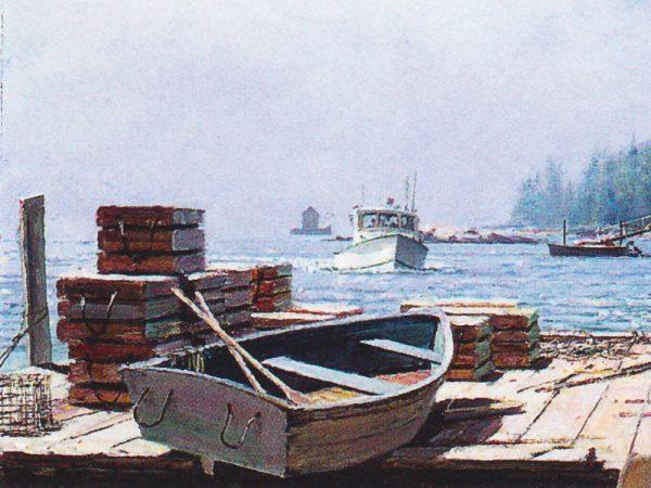John Stobart - Owl's Head: As Morning Fog Clears on Maine's Serene Coastline