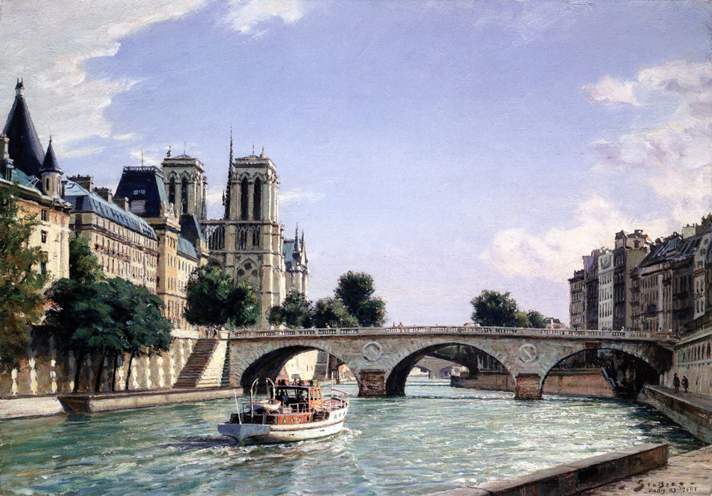 John Stobart - Paris: Notre Dame and Pont St. Michel