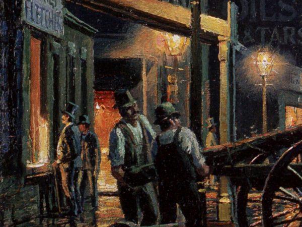 John Stobart - Philadelphia: Delaware Avenue Near Spruce Street in 1840