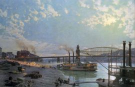 John Stobart - Pittsburgh: Moonlight Over the Monongahela in 1885