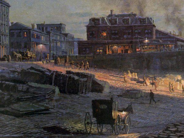 John Stobart - Pittsburgh: Moonlight Over the Monongahela in 1885