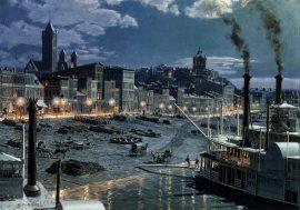 John Stobart - Pittsburgh: Water Street by Gaslight in 1899