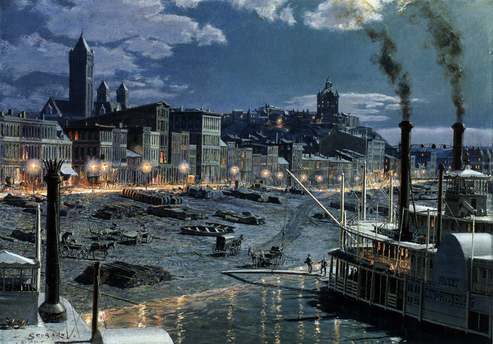 John Stobart - Pittsburgh: Water Street by Gaslight in 1899