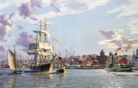 """John Stobart - Portland: The Bark """"Halcyon"""" Towing Out Past the Customs House in 1876"""