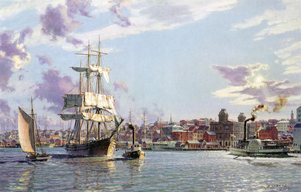 "John Stobart - Portland: The Bark ""Halcyon"" Towing Out Past the Customs House in 1876"