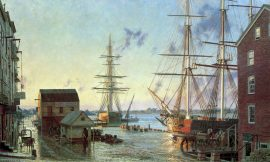John Stobart - Portsmouth: Merchant's Row Overlooking New Hampshire's Piscataqua River in 1828